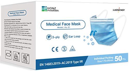 Lugsicher 50 Stück CE zertifizierte Schutzmasken Typ II-R, TÜV Rheinland geprüft, EN 14683:2019+AC:2019, medizinische Masken, 3-lagig, Einzelstück verpackt