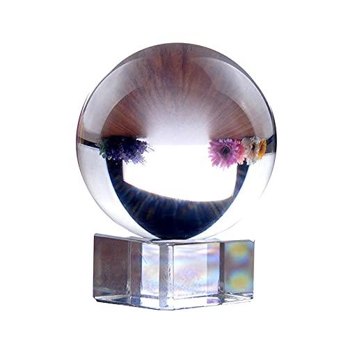 XLZYQ Bola De Esfera De Cristal Transparente con Soporte 60 Mm Fotografía De Cristal Prop Decoración Arte Decoración para El Hogar Y La Oficina