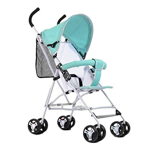 MAMINGBO Plegable portátil cochecito de bebé, cochecito infantil Ultra-Light con 5 puntos de arnés de seguridad, for el recién nacido y del niño (Color : Green)