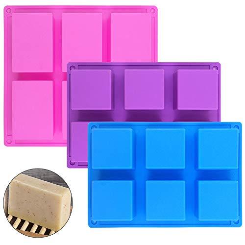 senhai 1 Rectangle de pièces & 2 moules à Savon carrés en Silicone, 6 moules à Pain de gâteau,Bonbons au Chocolat Bricolage à la Main - Rose, Bleu, Violet