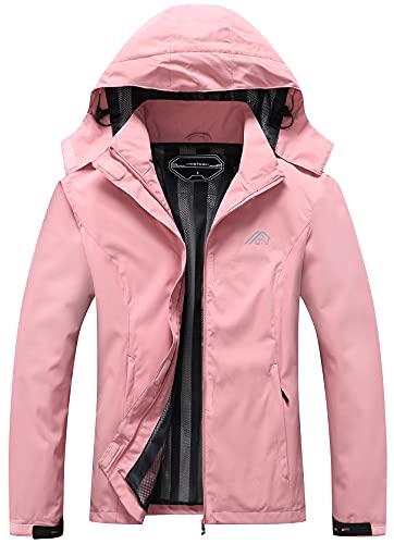 Women's Waterproof Hooded Rain Jacket Lightweight Outdoor Raincoat for Hiking Travel
