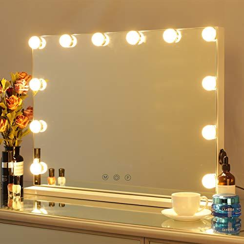 DAYU beleuchtete Hollywood Spiegel Schminkspiegel mit Beleuchtung und Touch Control Hollywood-Stil Make-up Kosmetikspiegel mit Lichtern, Tabletop Beleuchteter Kosmetikspiegel Weiß 12 Glühbirnen