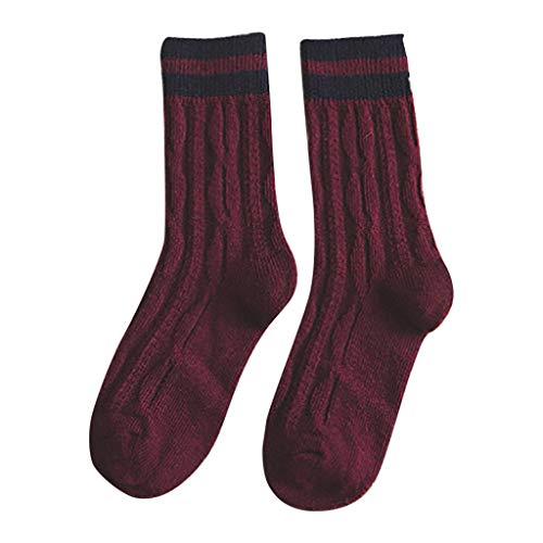 Huacat Herren Damen Crew Socks Socken mit Streifen Baumwolle Sportsocken - Tennissocken mit Ringel
