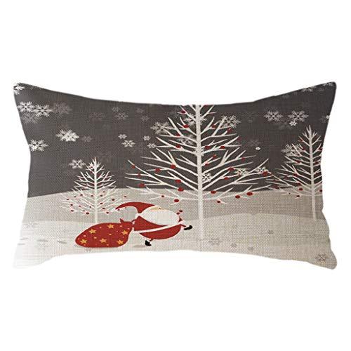 Kissenhülle Weihnachten Deko 30x50 Leinen Kissenbezug Weihnachtsmann Schneemann Christmas Kissenbezüge Wohnzimmer Kopfkissenbezug