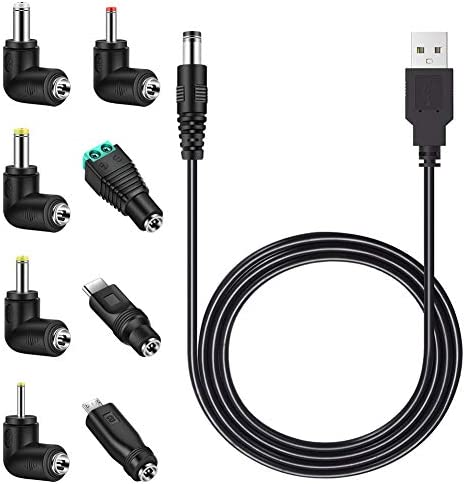 MEROM Universal 5V DC Power Cable USB to DC 5 5x2 1mm Plug Charging Cord with 8 Connector Tips product image