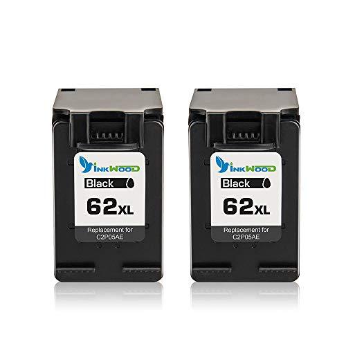 Inkwood 62XL Cartuchos de Tinta remanufacturados de Repuesto para HP 62 62XL Combo Pack Compatible con HP Envy 5540 5640 7640 5646 5546 Officejet 5740 5742 200 (2 Unidades), Color Negro