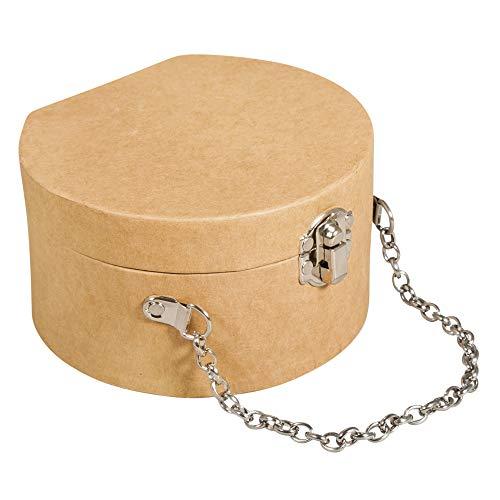 Rayher 67281521 Pappmaché Koffer, rund, 12,5 x 11,7 x 7 cm, mit Verschluss und Metallkette, FSC zertifiziert, kleiner Koffer aus Pappmaché kraft, Bastelkoffer, Utensilienkoffer, Pappmachébox