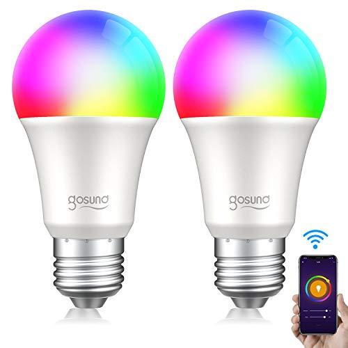 Smart Glühbirne E27, Alexa Lampe Wlan Mehrfarbige Dimmbare Lampe Kompatibel mit Amazon Alexa Echo, Echo Dot Google Home Kein Hub Erforderlich Smart Glühbirne (2 Pack)