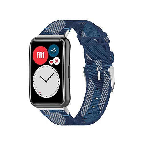 TopTen Correa de reloj compatible con correa de reloj inteligente HUAWEI WATCH Fit, accesorios de repuesto de pulsera de nailon, correa de muñeca ajustable (D)