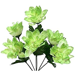 Sage Green 6 Head 3″ Dahlia Artificial Silk Flowers Wedding Bouquet Centerpiece Fake Faux, for Wedding Supplies