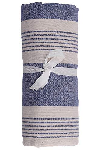 HomeLife – Foulard Multiusos – Tela Decorativa Cubre sofá con diseño de Rayas, 160x280, fabricación Italiana – Granfoulard de algodón – Cubrecama Individual (Cama 1 Plaza) – Azul