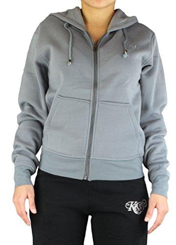 Alex Flittner Designs Damen Kapuzenjacke/Sweatjacke mit Kapuze/Blank Zip Hoody in grau | Größe: XL