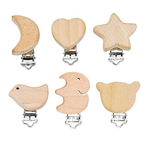 6 Stück Schnuller Clip Nuckelclip Baby Clip Metall Holz Schnullerclip Säugling Schnuller Verschlüsse Halter Schnullerketten Clips Nippel Halter für Baby und Kinder