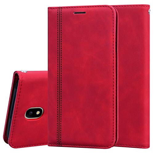 Zhangli Galaxy Cases para Samsung Galaxy J7 / J730 (EU) Funda de piel sintética con tapa magnética horizontal con soporte, ranura para tarjeta y cordón Galaxy Cases (color rojo)
