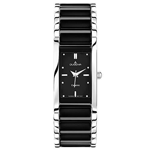 Dugena Damen Quarz-Armbanduhr, Keramik, Gehärtetes Mineralglas, Quadra Ceramica, Schwarz/Silber, 4460507