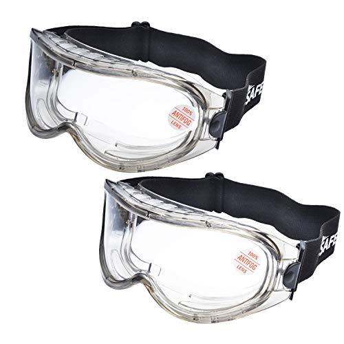 2 Pares Laboratorio Gafas Protectoras de Seguridad de Obra gafas proteccion [Cinta ajustable] SG007 con Lentes Policarbonatos Protección contra Impacto Soldadura Laboral Graduadas Trabajo ⭐