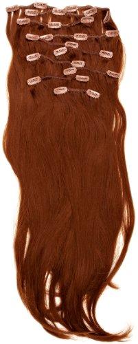 Love Hair Extensions - LHE/K1/QFC/120G/10PCS/18/30 - Thermofibre™ Lisses et Soyeux - 10 Pièces Clippants en Extensions - Couleur 30 - Topaze - 46 cm