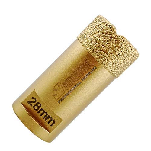 SHDIATOOL Punta per Trapano Diamantata 28mm Vacuum Brasato Foretto Diamantato con Filettatura M14 per Porcellana Piastrella Granito Marmo Taglio a Secco