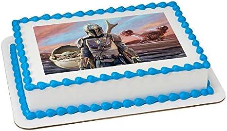 BABY YODA MANDALORIAN STAR WARS Edible image Birthday Cake topper decoration!