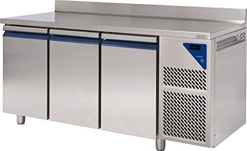 Gastlando - Premium Gastro Kühltisch Edelstahl - 3 Türen - mit Aufkantung - 460 Liter - 0° bis +10 °C