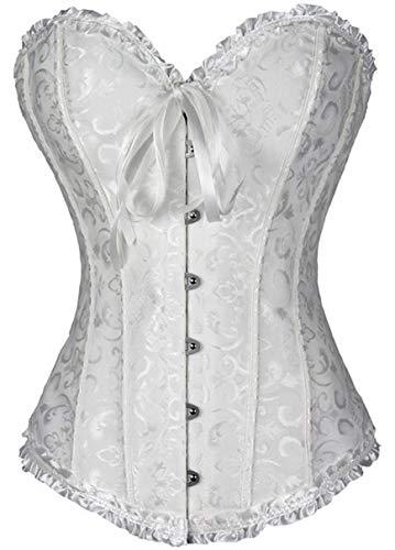 FeelinGirl Frauen Bridal Wäsche schnürt sich oben Satin ohne Knochen Korsett mit G-Schnur,Weiß,Euro: 36 (M)