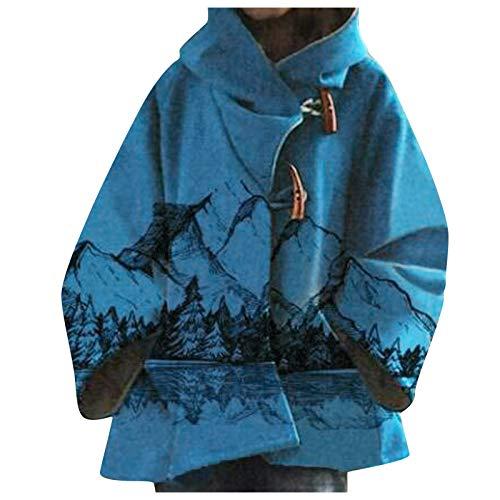 Abrigo para mujer, estampado étnico, cálido, interior de algodón, acolchado, con capucha,...