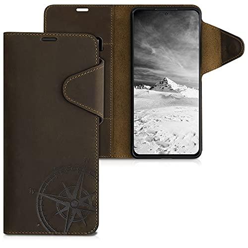 kalibri Carcasa Compatible con Xiaomi Redmi Note 10 Pro - Funda de Cuero con Tapa de Billetera Aguja magnética marrón