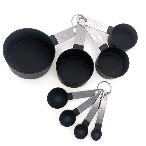 8-teiliges Messwerkzeug, schwarz, 4 Messbecher, 4 Messlöffel, Nylon-Messbecher und Löffel mit Metallgriffen für Flüssigkeiten und Feststoffe