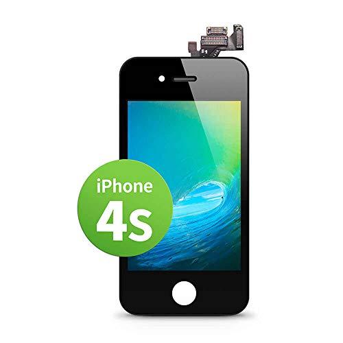 GIGA Fixxoo kompatibel mit iPhone 4s LCD Touchscreen Retina Display Ersatz in Schwarz für Einfache Reparatur, FaceTime Kamera (kein Set)