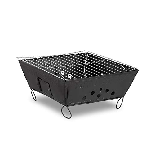 Relaxdays Outdoor Klappgrill, mobiler Campinggrill, Stahl Tischgrill HBT: 12 x 25 x 25 cm, schwarz