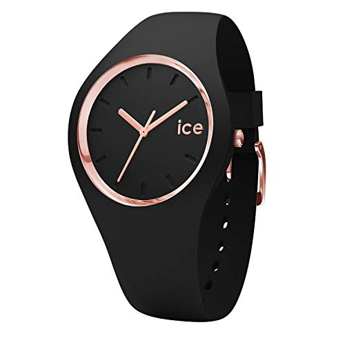 ICE-WATCH - Ice Glam Black Rose-Gold, Reloj Negro para Mujer con Correa de Silicona