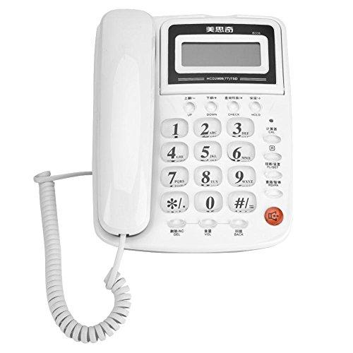 Teléfono fijo de oficina y hogar de sobremesa Teléfono con cable con pantalla identificador de llamadas y grabación de llamada con función de rellamada teléfono anti-rayos y anti-interferencias blanco