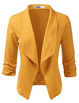 Doublju Womens Casual Work 3/4 Sleeve Open Front Blazer Jacket with Plus Size Mustard Large