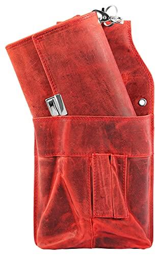 Dattini Unisex - Kellnerbörse Echtleder mit Kellnertasche und Kette 3000135 (Rot)