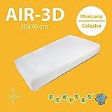 Pekitas - Colchón Minicuna 50x70 cm Funda AIR-3D Transpirable Antiahogo Con Cremallera Lavable Grosor 10cm Interior Espuma Blanca Fabricado en España Medidas Personalizables