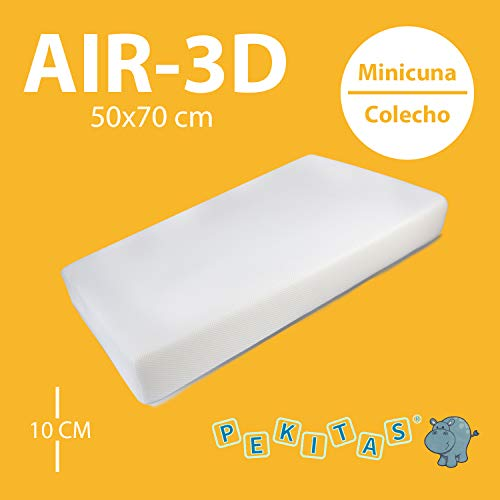PEKITAS - Colchón Minicuna 50x70 cm Medidas Personalizables Funda AIR-3D Transpirable Antiahogo Con Cremallera Lavable Grosor 10cm Interior Espuma Blanca Fabricado en España