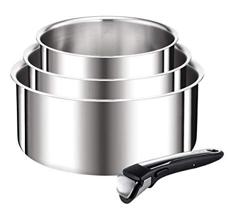 Tefal - L918S414 - Ingenio Reserve Collection Set De 3 casseroles 16/18/20 cm (1,5/2,1/3 L) Inox + 1 poignée Amovible Tous Feux Dont Induction