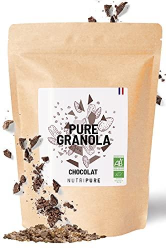 Pure Granola Bio • Pépites de chocolat noir • Artisanal • Riche en protéines et fibres • Muesli Vegan, cru, sans conservateur, sans gluten ni sucre ajouté • 350g • NUTRIPURE