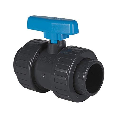 well2wellness® PVC-Kugelhahn mit 2-Wege Klebeanschluss 40mm - Blauer Griff (200005)