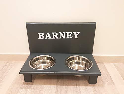 Futternapf / Hundenapf für Ihren Vierbeiner, tolle Futterbar mit 2 Edelstahlnäpfen mit je 750 ml. Handgefertigtes Hundezubehör und Tierbedarf. Lackierung in Anthrazit mit Wunschname! (37819)