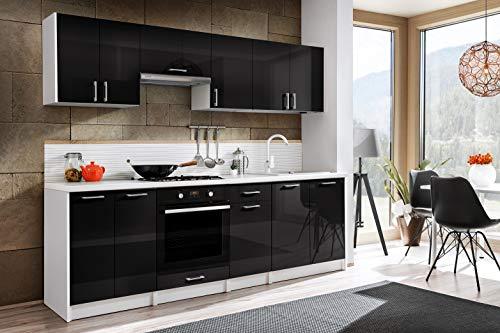 Tarraco Comercial Muebles de Cocina Eliza Negro Brillo 240 cm