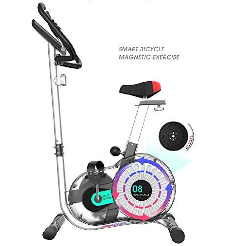 Qhxxtxjis hometrainer, afneembaar, draagbaar, voor gezondheid en fitness, magnetisch, riemaandrijving binnen, fiets met vliegwiel met 18 kg en hartslagbewaking