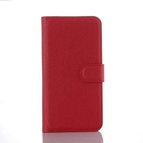 pinlu® PU Leder Hülle Schutzhülle Für Google LG Nexus 5X Prämie Geschäfts Art Haut Textur Flip Etui Brieftasche Mit Stand Function Innenschlitzen Design Cover Rot