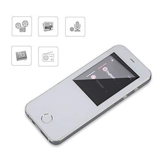 Intelligente spraakvertaling, draagbare 4-inch schermvertaler, intelligente stemvertaler-tolk, 49 talen, meertalige vertaler, 512 m + 4G RAM(Wit)