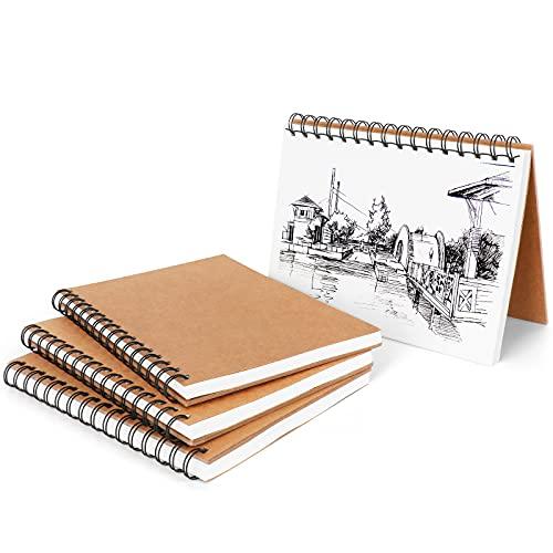 AN HUI MING Skizzenbuch A5,Sketchbook,Zeichenbuch,Zeichenblock,Skizzenblock 4er Set(30 Blatt × 160g/m²)