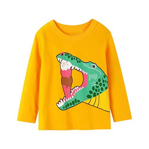 T-Shirts Baby Junge Sweatshirts Cartoon Tier Dinosaurier Langarm Shirt Tops Langarmshirts Kleidung, Gelb, 3-4 Jahre