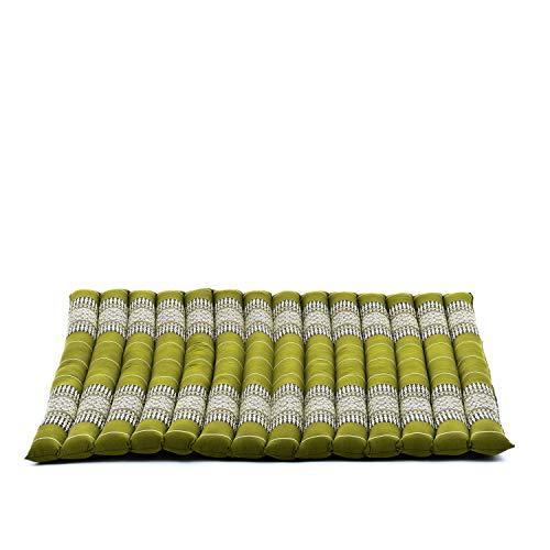 Leewadee Cojín De Meditación Zabuton Cojín De Suelo Cuadrado Grande Orgánico Naturalmente Ecológico, 69x78x4.5 cm, Capok, Verde