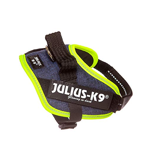 Julius-K9 16IDC-FARNE-MM IDC Powerharness, Dog Harness, Size Mini-Mini, Jeans with Neon Edge