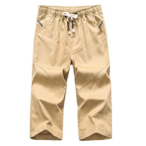 Pantalones Cortos para Hombres Verano Pantalones Cortos Sueltos de Gran tamaño de Color sólido microelástico Pantalones Cortos para Hombres