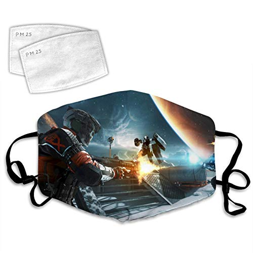 Ca-ll of Du-ty Infi-nite War-fare Face Mask Reusable and 2 Filters,Mouth Cover Adjustable Elastic Strap